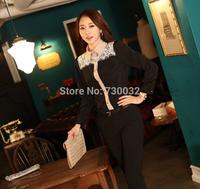 new Promotions! 2014 hot summer Fashion trendy women blouse shirts Classic black and white Department stitching chiffon shirt