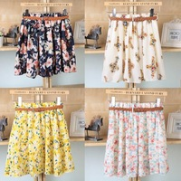 Hot Sale Sashes Floral Casual New Korean 2014 Woman Chiffon Skirt Pleated Girls Skirts Short Women Female With Belt