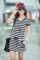 Women's Casual Elegant new summer Straight Short O-Neck Puff Sleeve Striped Pockets MINI dress For Women Free Shipping