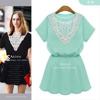 Europe station lace collar short-sleeved dress waist dresses backing refreshing Women