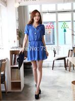 New summer 2014 women casual A-Line Short Turn-down Collar Puff Sleeve Button MINI dress For Women Free Shipping