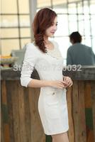 New autumn 2014 women casual Chiffon Sheath long sleeve O-Neck Appliques MINI dress For Women Free Shipping