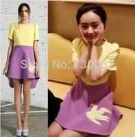 2014 summer women's fashion dresses yellow flowers and Yan Zi fight irregular dress mini dress S-XL