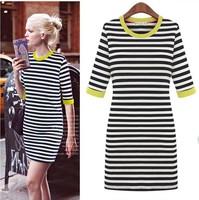 Newest autumn women dress white/black strip color Neck Half sleeve lady fashion casual dresses plus size Free shipping