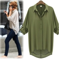 Women's 2014 New Fashion Loose Blouses Chiffon Sexy Summer Long Sleeve Shirts Top White Casual Blouses