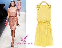 Summer Dress 2014 NEW Korean Womens Fashion Chiffon Pleated Bow Sleeveless Shoulder Beads Tank Mini Dress Casual Bandage M L XL