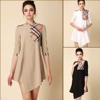 women 2014 New  high quality plaid palace  grid dress elegant fashion irregular sweep spring and summer