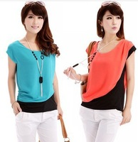 2014 Tops New Casual Women Fashion Career Wear Short Sleeve Round Neck Blouse Shirts