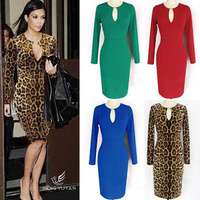 2014 Women Spring Long Sleeve Evening Club Dress Ladies Sexy Cutout Pencil Party Bodyconess Leopard  DrSolid freeshipping
