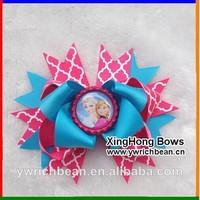 30pcs /lot  6colours 2014 bottle cap frozen hair accessories children hair bows children ribbon bows hair clip hairbows  2014684
