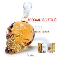 Free shipping 2014 New Arrival 1000ml Doomed Crystal Skull Shot Glass/Skull Head Vodka Shot Wine Glass Bottle Novelty Gift