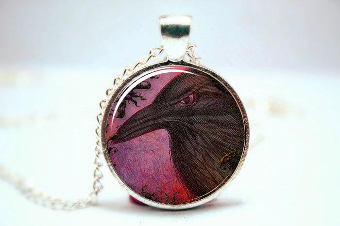 10pcs/lot Raven Necklace, Black Crow Pendant, Gothic Halloween Jewelry Glass Photo Cabochon Necklace(China (Mainland))