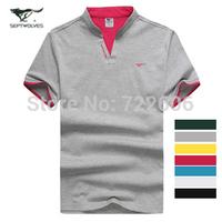 stand collar 2014 new brand t shirt  men slim fit  men shirt men's t  shirt la cotton  male casual camisa