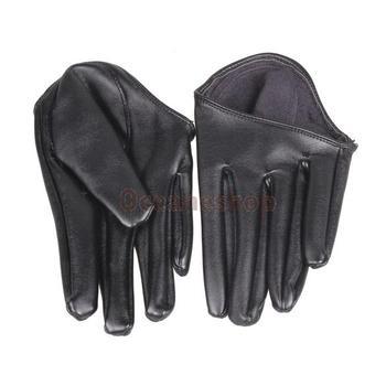 Стильные черные перчатки из кожзаменителя на половину ладони.