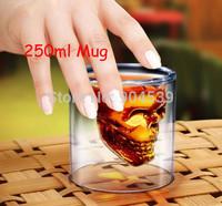 Wholesale 80pcs/lot 2014 New Arrival Big Size 250ml Doomed Crystal Skull Shot Glass/Crystal Skull Head Vodka Shot Wine Glass Mug