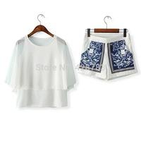 Fashion summer women's 2014 batwing sleeve loose top print shorts set