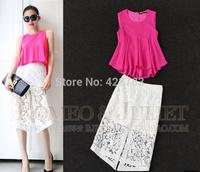 2014 summer women's cute chiffon shirt organza embroidered bust skirt set