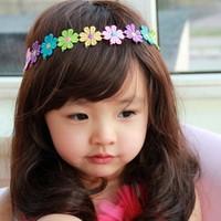 Sweet girls rainbow flower princess elastic headband cheap 2014 new