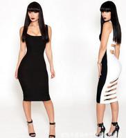 Bodycon Dress  Women Clothing Dress Summber 2014 Atacado Roupas Femininas Sexy Hollow Out Bandage Black and White Club Dresses