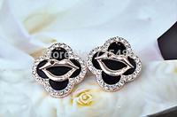 Free shipping 2014 new fashion four leaf  lip crystal stud earrings   12pcs=6 pairs/lot