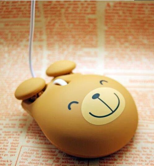 Brown color Cartoon bear style computer mini mouse with USB port 1000 DPI Plug & Play(China (Mainland))