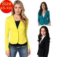 Blazer feminino yellow Blazer women plus size blasers and jackets ladies work wear black blazer mulheres preto