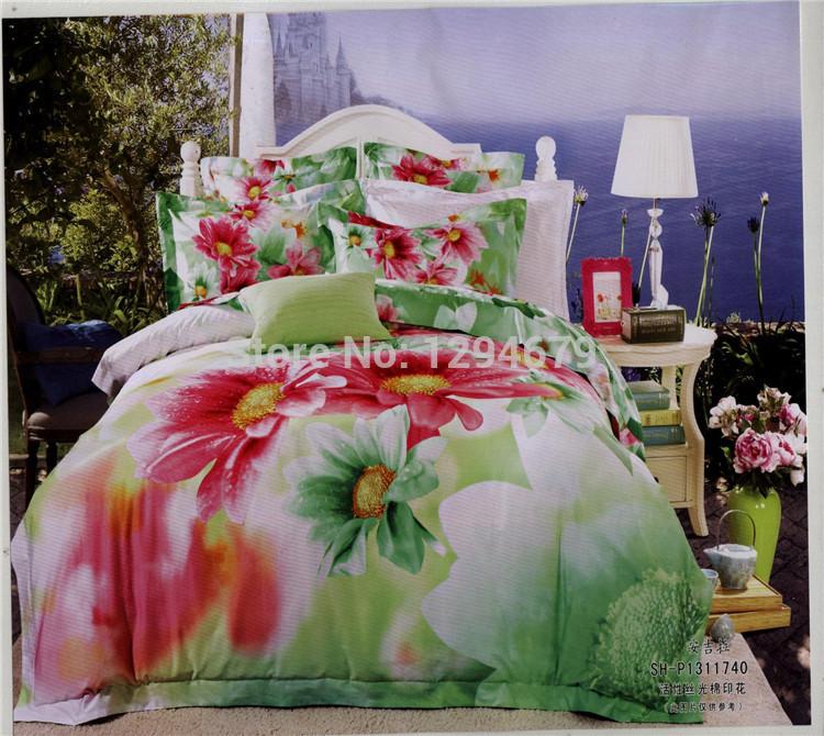 SUNA única cama de linho colcha 100% lençol de algodão define rainha siz cama 4pc pintura a óleo 3d ajustado edredon / Quilt / tampa(China (Mainland))