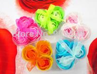Wholsesale 300 Pcs/Lot 3 Pcs/Retailing Box Rose Soap Flowers,  Wedding Party, Even Favor Gift for Guest