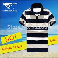 2014 new design septwolves 100%cotton high quality casual t shirt plus size men stripe  famous frand shirt