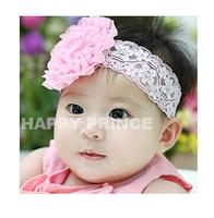 Pink big flower lace headband baby cheap 2014 wholesale