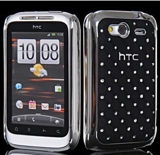 Diamond Bling Chrome Hard Rhinestone Case Cover For HTC Wildfire S G13(China (Mainland))