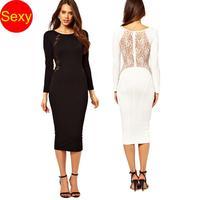 Bodycon Winter Dress Long Sleeve Perspective Black White Lace Patchwork Long Slim Hip Dress Backless atacado roupas femininas