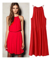 2014 summer the new elastic waist pure color skirt sleeveless dress condole female temperament cultivate one's morality