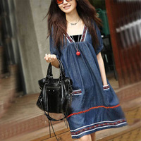 Plus Size Denim Maternity Dress Clothes For Pregnant Women Dresses For Pregnancy Summer Clothing Fashion 2014 New Free Shipping