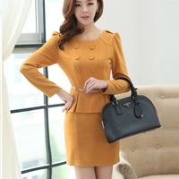 Hot Sale 2014 Spring Fashion Office Lady Work Career Dress Suit Women Dress Clothing Set  Black Dress Plus Size Free Shipping