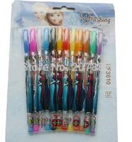 Free Shipping 1200pcs/lot !The Newest Frozen Princess Multi Color Ballpoint Pens 12-Color Glitter Pen Stationery Set A3331