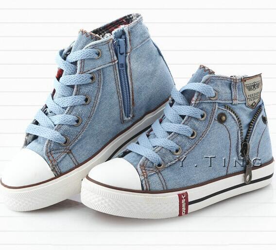 Vente hot nouvelle 2014 size25-37 enfants chaussures d'enfants toile espadrilles appartements pour les garçons jeans en denim pour les filles bottes chaussures de sport ab1