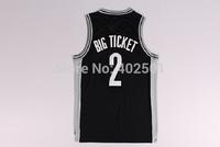 Free Shipping  2013-14 BIG TICKET Jersey, Cheap Kevin Garnett Brooklyn 2# BIG TICKET Nickname Basketball Jersey - Black S-XXL