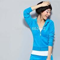 2014 New Women Velvet sportswear ladies hoodies sportswear suit sweatshirts sports casual set plus size