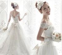 Han edition lace shoulder bag a word shoulder the princess bride trailing 2014 spring the latest wedding dresses