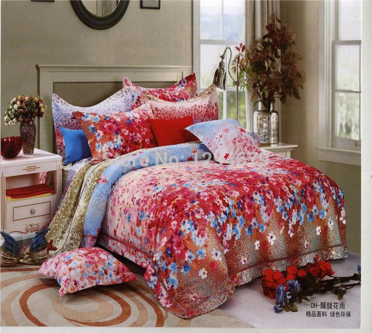 Jogo de cama 3d SUNA 100% algodão 4pcs completo com folha plana de capa de edredon e fronha de casal e rainha de têxteis-lar(China (Mainland))