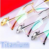 unisex 100% Titanium rimless glasses brand optical frame Wholesale and Retail brand Designers eyewear free shiping