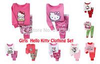 1set retail brand new girls hello kitty cartoon long sleeve pajamas sets kids pyjamas suits for 2-7 years children PJS sleepwear