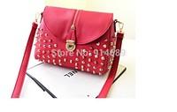 2014 new European and American big casual female rivet latch shoulder diagonal bag women bags