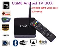 Newest Quad Core Andorid TV Box CSM8 Amlogic S802 Android 4.4 Kikat 2G/16G External Wifi Antenna XBMC Media Player 4K HDMI DTS