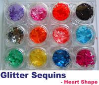 12 Color Nail Art Acrylic Glitter Sequins Powder Set Decoration Tool Heart Shape