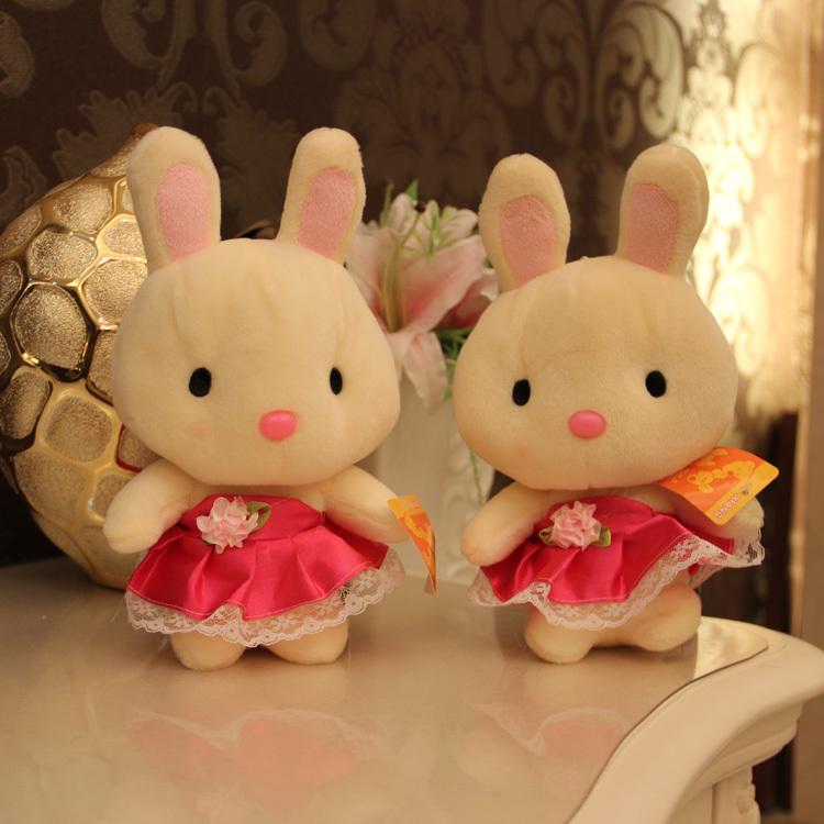 7'' mini baby toys stuffed rabbit plush toy soft kids toys wholesale 18 cm stuffed animals bunny in wedding dress children gifts(China (Mainland))