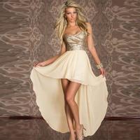 Women's irregular double layer dress paillette zipper princess sexy one-piece dress free shipping