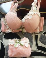 Flower Appliques Lolita Padded Cup Bra and Panties Set Sexy Women Push Up Bra & Briefs Underwear Set