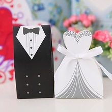 Hot Sale Bride and Groom Box !!! 100pcs Bride and Groom Wedding Favor Boxes Gift box Candy box(China (Mainland))